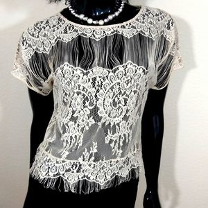 Petticoat Alley Lace Beige Blouse Small WT1